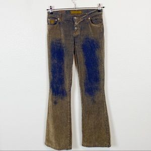 Bongo Sueded Flocked Flare Festival Jeans Size 9